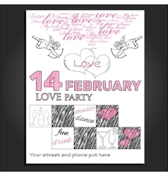 Invitation for valentine day vector