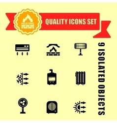 Quality heating icon set vector