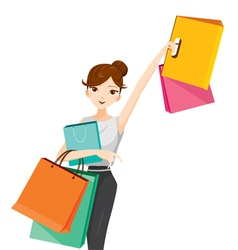 Woman raises her arm hanging shopping bags vector