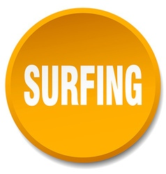 Surfing orange round flat isolated push button vector