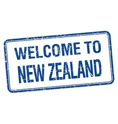 Welcome to new zealand blue grunge square stamp vector