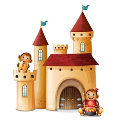 A castle with monkeys vector image