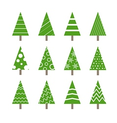 Abstract ornamented christmas trees collection vector image vector image