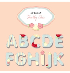 alphabet shabby chic vector image vector image