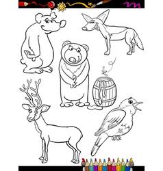 Animals set cartoon coloring page vector