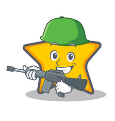 Army star character cartoon style vector