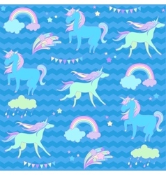 Blue and green unicorns with flags on a aquamarine vector image vector image