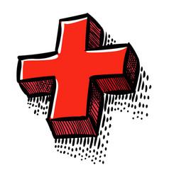 Cartoon image of plus icon cross symbol vector