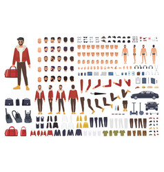 caucasian man creation set or diy kit collection vector image