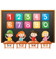 Children in class and numbes on board vector