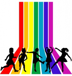 children playing on a rainbow vector image vector image