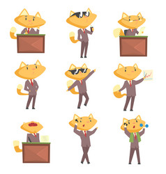 Cute businessman fox character at work and rest vector