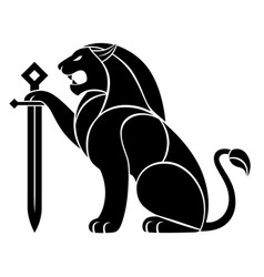 decorative lion with sword vector image
