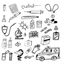 doodle medicine medicine ambulance vector image vector image