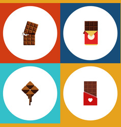 Flat icon bitter set of delicious chocolate bar vector