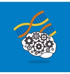Human brain with gears inside and dna strand icon vector