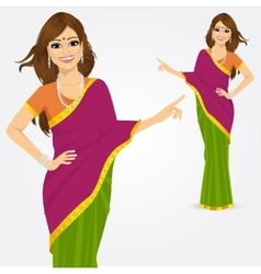 Indian woman showing something vector