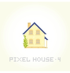Isolated house in pixel art style 4 vector image vector image