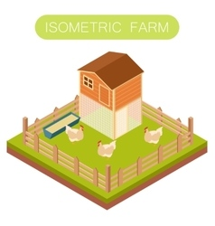 Isometric henhouse with chikens vector