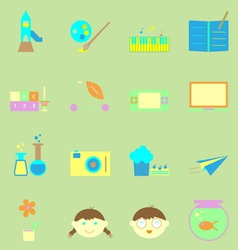 Kid activities color icons set vector