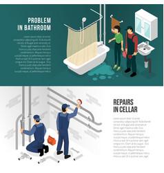 plumber pipeline repair banners vector image