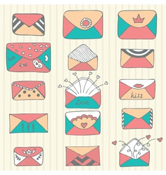Set of hand drawn mailing envelopes sketch style vector