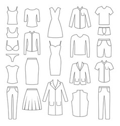 set of woman and man clothes icons vector image vector image