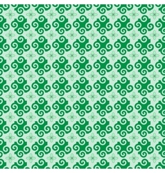 Spiral and flower green seamless pattern vector image