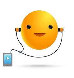Sun smile music player vector