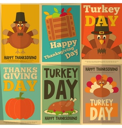 Thanksgiving Day Retro Posters vector image vector image