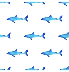 Watercolor shark pattern vector image vector image