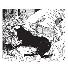 Wolf and brother rabbit vintage vector