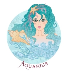 Astrological sign of aquarius as a beautiful girl vector