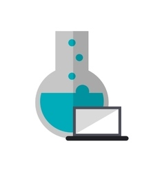 Round bottom chemistry flask and laptop icon vector