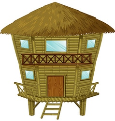 Bungalow made of wood and straws vector