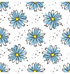 Chamomile tea seamless pattern organic herbal hot vector