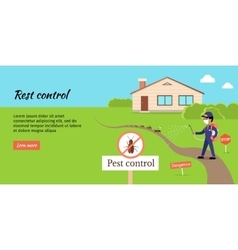 Pest control web banner in flat design vector