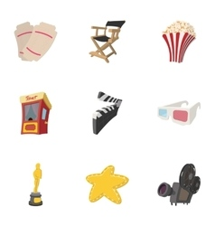 Motion picture icons set cartoon style vector
