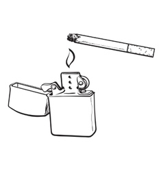 Silver metal lighter and burning cigarette sketch vector