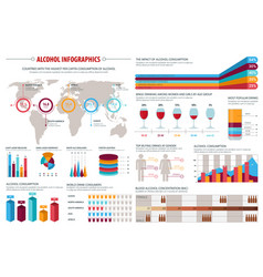 Alcohol drinks consumption infographics design vector