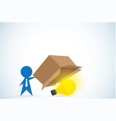 businessman open box and see light bulb inside vector image