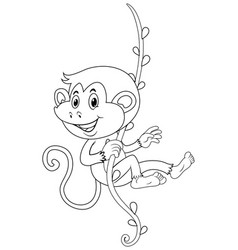 Animal outline for monkey on vine vector