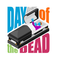 Day of the dead open coffin departed zombie in vector