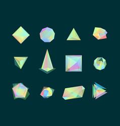 polygonal color glass transparent shapes set vector image