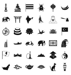 Asian people icons set simple style vector