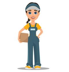 Courier woman holding carton box professional vector