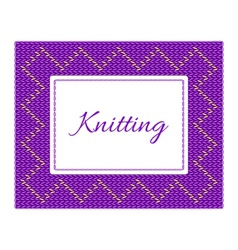 Purple with yellow knitted card vector