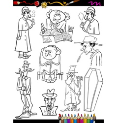 Retro people set cartoon coloring page vector