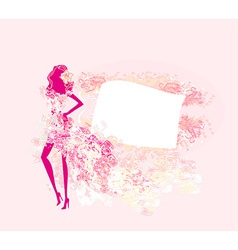 Abstract floral fashion girl silhouette poster vector