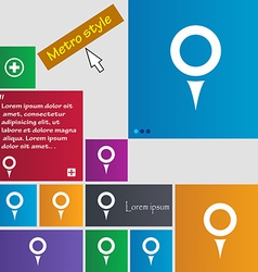 Map pointer gps location icon sign metro style vector